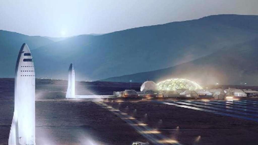 "SpaceX-Computergrafik der geplanten Siedlung ""Mars City"" auf dem Roten Planeten. Foto: Spacex/Press Association Images/dpa"