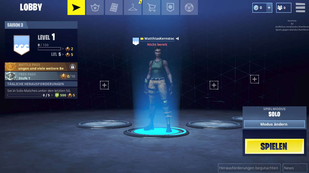 Der Lobby-Bildschirm der Mobilversion von Fortnite Battle Royale