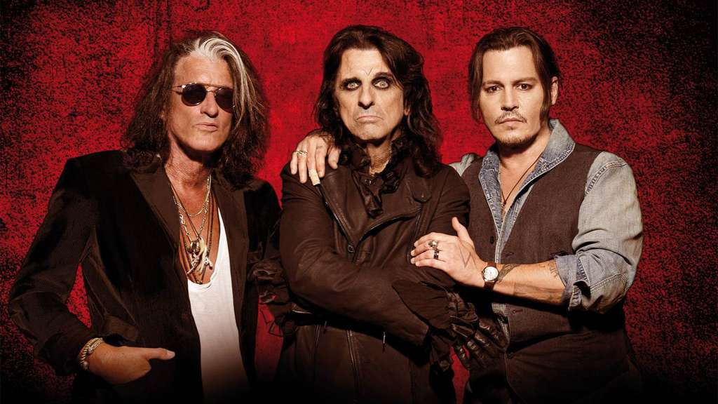 Die Hollywood Vampires: Joe Perry, Alice Cooper und Johnny Depp. (von links) Foto: Ross Halfin/ nh