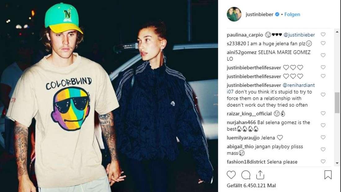 Justin Bieber postet dieses Bild von sich und seiner Hailey auf Instagram. Die Fans von ihm und Selena Gomez sind darüber nicht glücklich.