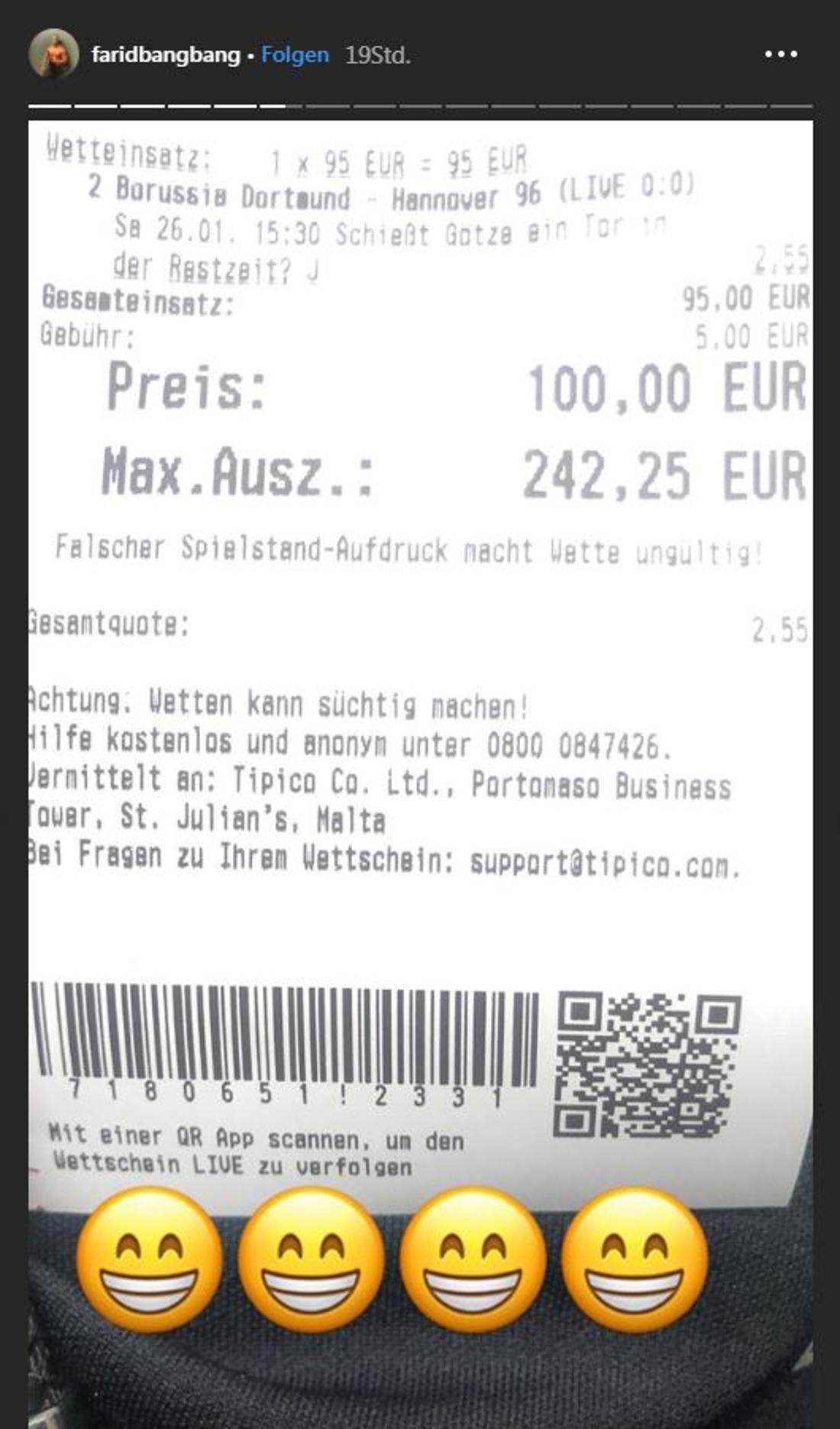 Mit dieser Wette auf ein Mario-Götze-Tor gewann Farid Bang fast 250 Euro.