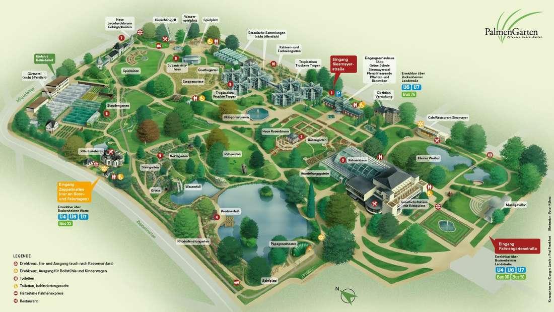 Der Gartenplan für den Palmengarten Frankfurt.