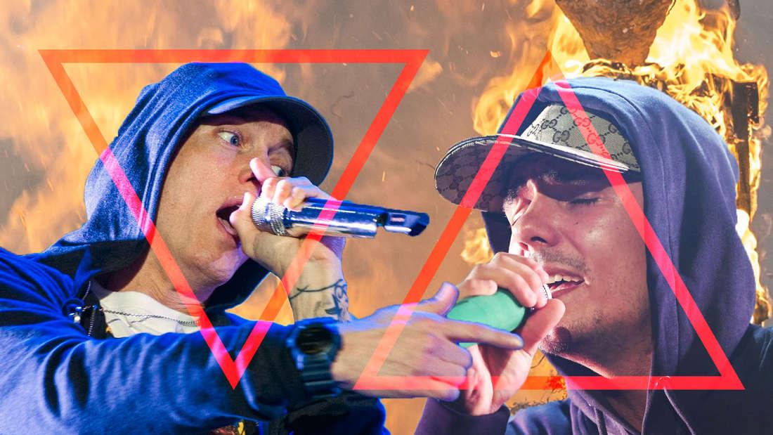Capital Bra klatscht sogar Rapper Eminem (links) weg.
