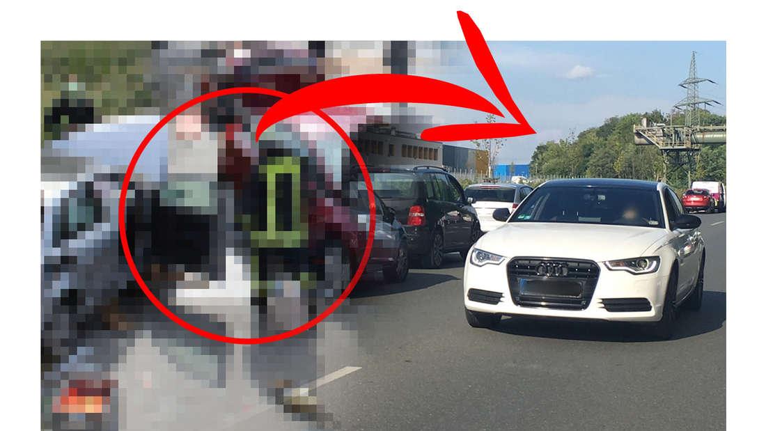 Ein Irrer hat auf einer Bundesstraße in Dortmund die Rettungsgasse missachtet und illegalerweise gewendet.