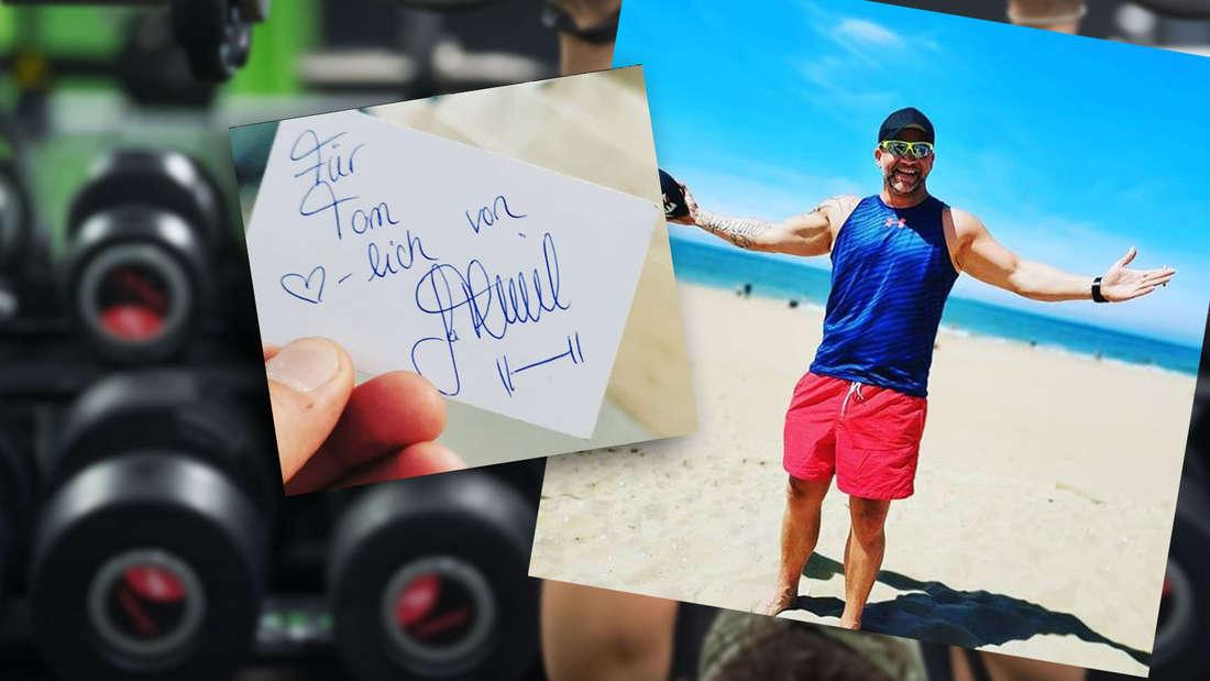 Dieses Autogramm bekam Tom von Sophia Thiel im Fitnessstudio in Spanien.