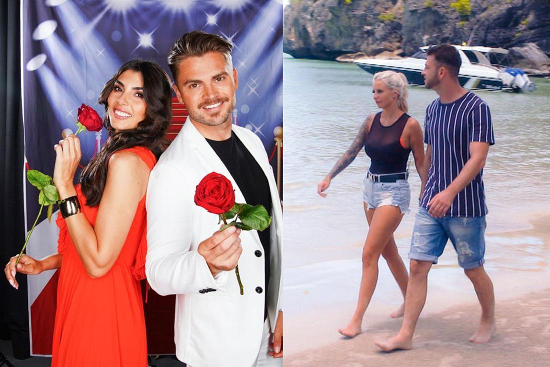 """Nach Bachelor 2018 suchten Yeliz Koc (li. mit Johannes Haller) und Carina Spack (mit Serkan Yavuz) bei """"Bachelor in Paradise"""" ihre große Liebe."""