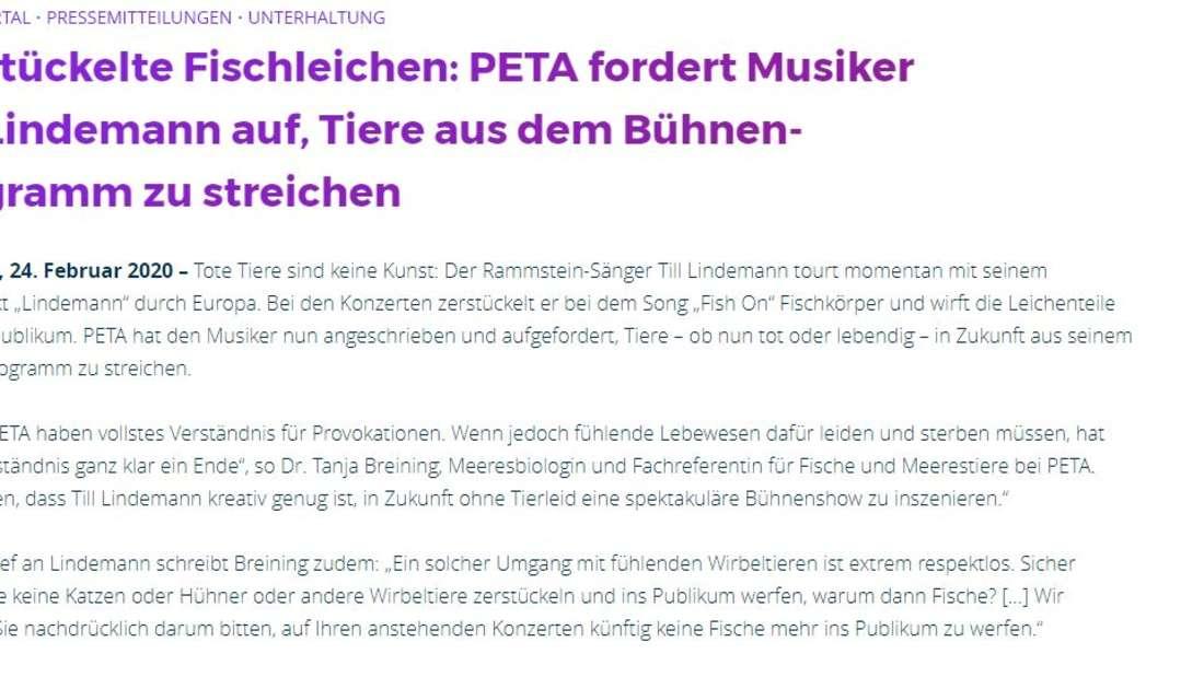 PETA hat sich nun zu Rammstein geäußert.