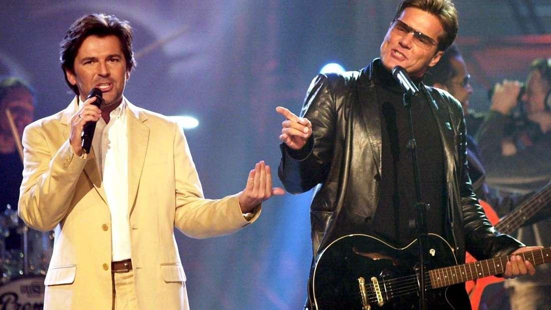 Thomas Anders (links) und Dieter Bohlen (rechts) als Duo Modern Talking.
