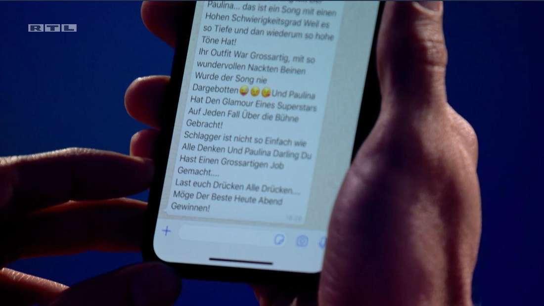 Florian Silbereisen las im Finale von DSDS eine SMS von Maite Kelly vor.