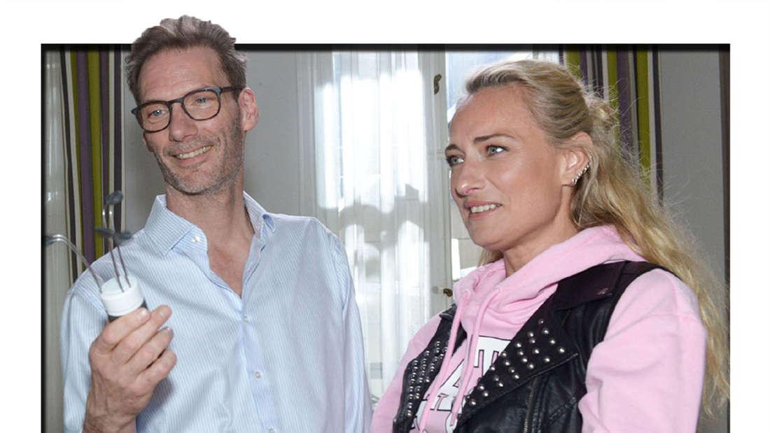 Die GZSZ-Schauspieler Clemens Löhr und Eva Mona Rodenkirchen drehen eine Szene für die RTL-Seifenoper.