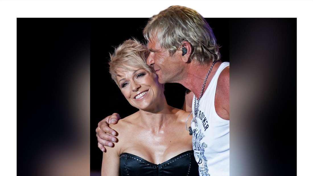 Schlagersänger Matthias Reim umarmt seine ehemalige Lebensgefährtin und Sängerin Michelle. (Fotomontage)