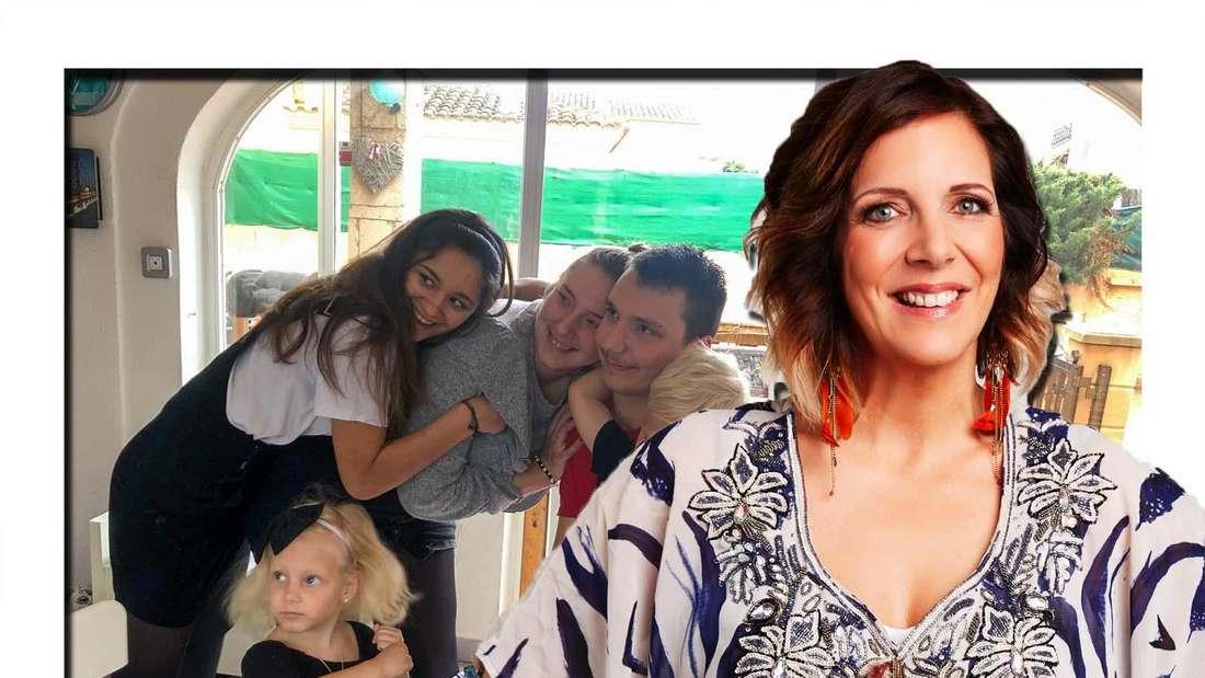 Daniela Büchner mit ihren fünf Kindern (Fotomontage)