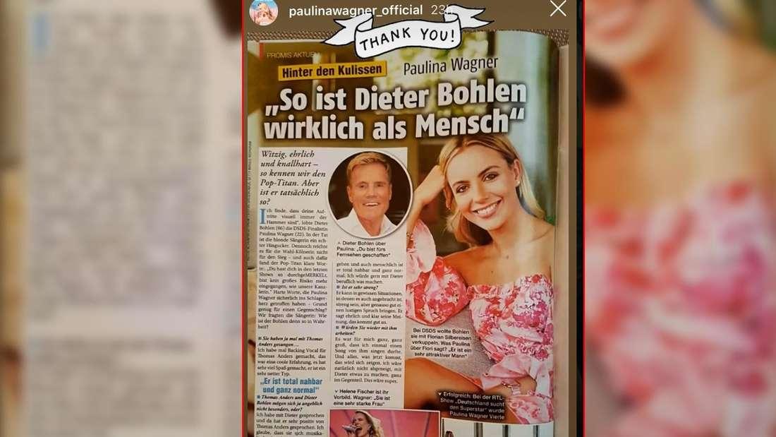 Abfotografierte Zeitschrift-Seite von Interview mit Paulina Wagner (DSDS).