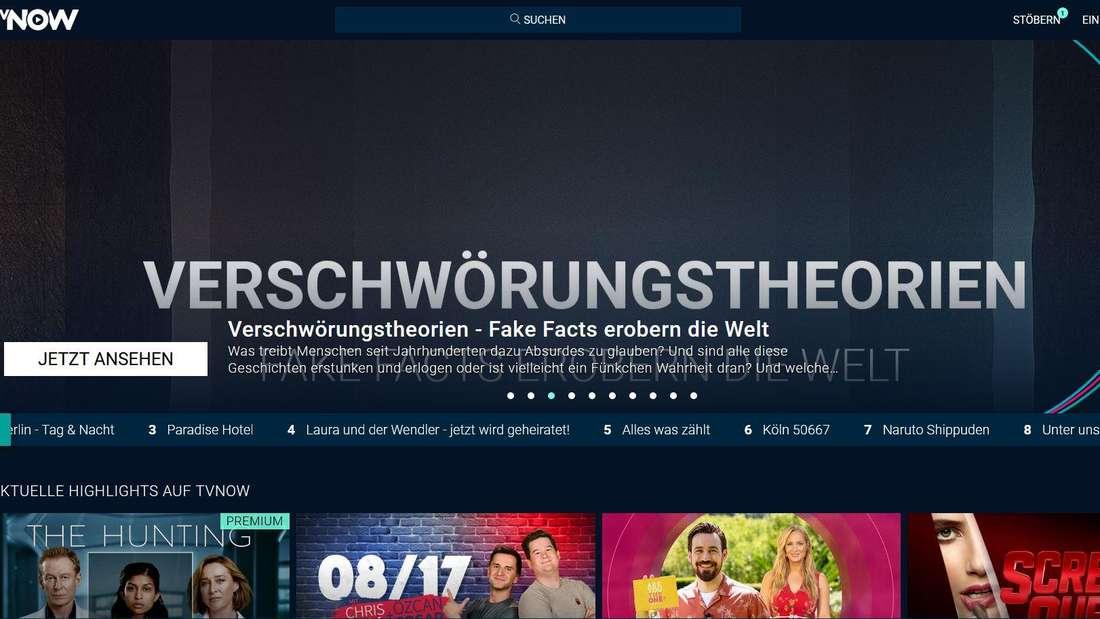 TVNow Startseite