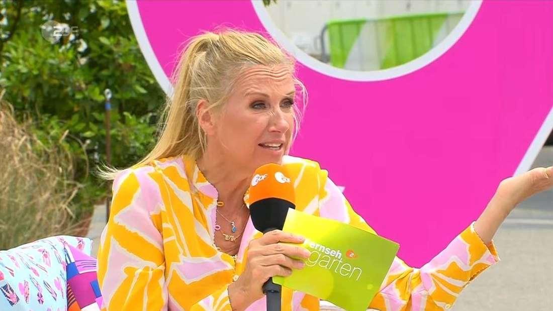 Moderatorin Andrea Kiewel moderiert den ZDF-Fernsehgarten