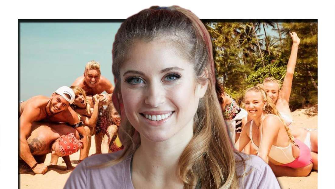 Cathy Hummels im Vordergrund, im Hintergrund die Teilnehmer der Show am Strand (Fotomontage)