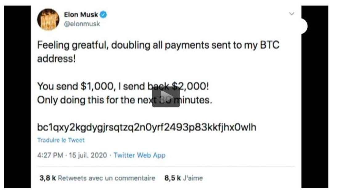 """Elon Musk verprach bei Twitter: Du schickst mir 1000 Dollar, ich schicke Dir 2000 zurück"""". Ein Fake eines Hackers."""