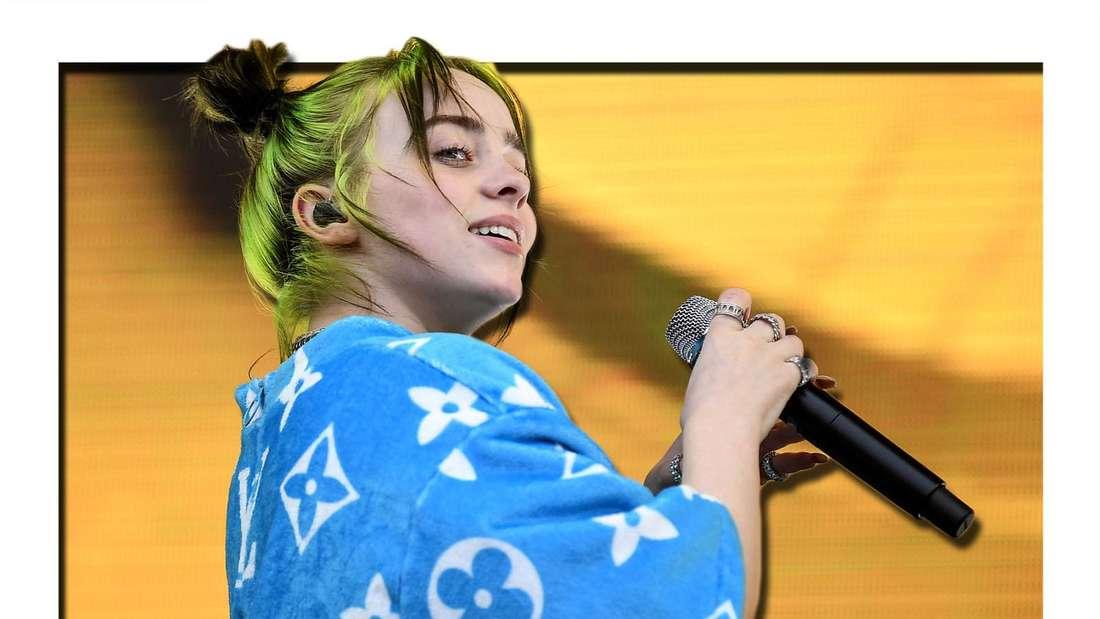 Singer-Songwriterin Billie Eilish singt auf einer Bühne (Fotomontage)