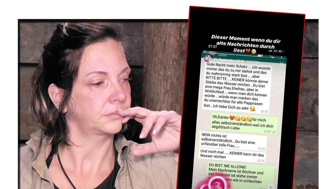 Danni Büchner weint im Dschungelcamp, daneben ein Screenshot von einem Chatverlauf mit Jens Büchner.