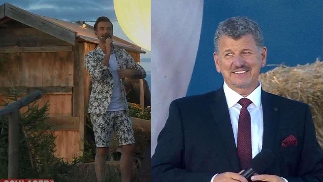 Schlager, Stars & Sterne: Florian Silbereisen mit buntem Anzug, rechts Semino Rossi bei seinem Auftritt (Fotomontage)