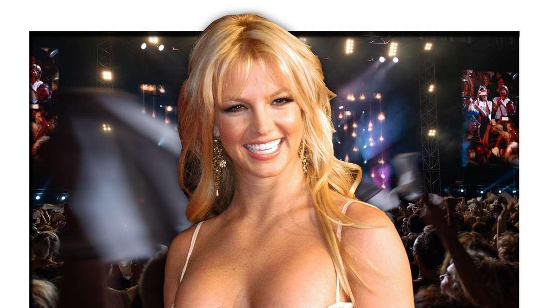 Britney Spears lächelt strahlend in die Kamera, im Hintergrund findet ein Konzert statt (Fotomontage)