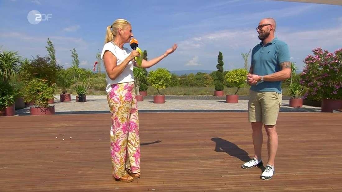 Andrea Kiewel flirtete beim ZDF-Fernsehgarten mit Skistar Marco Büchel.