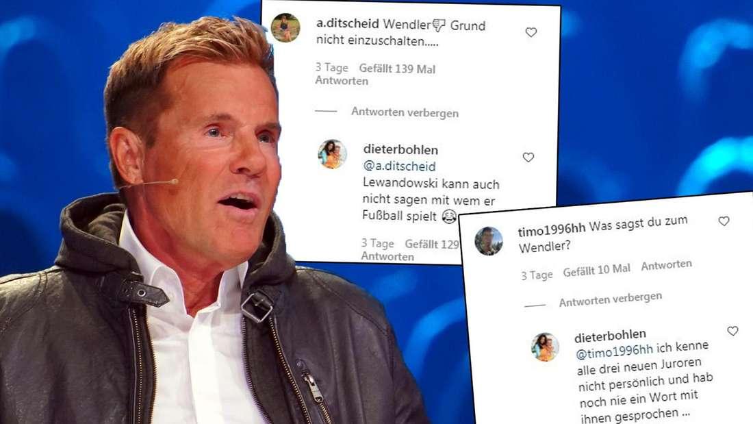 Dieter Bohlen bei DSDS, daneben Kommentare von Instagram.
