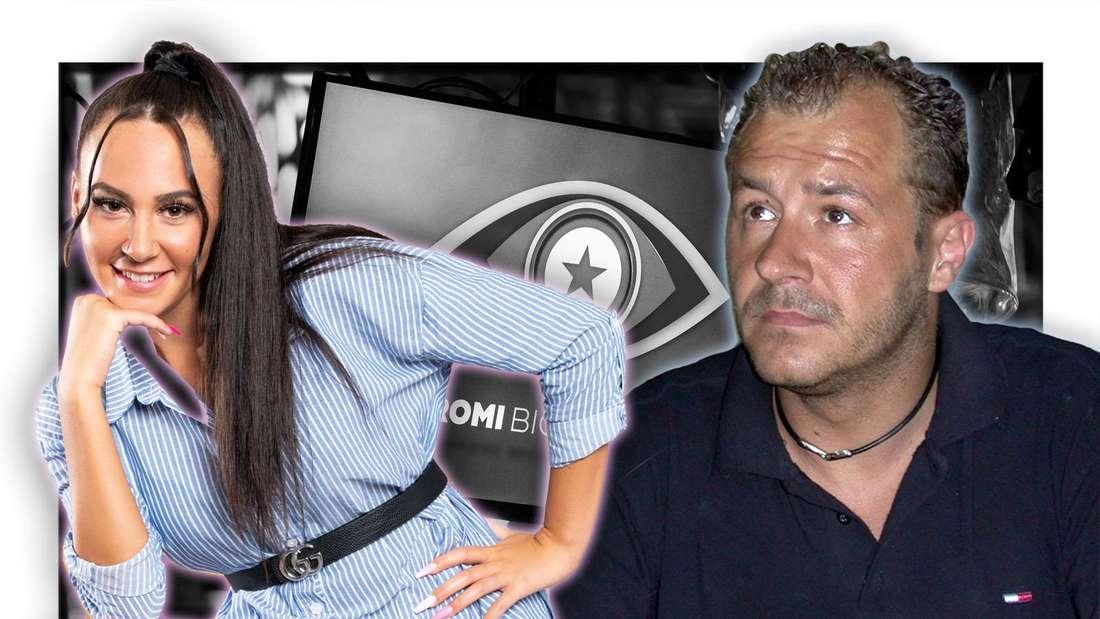 """Willi Herren blickt in die Höhe und hat die Hände gefaltet, neben ihm steht Tochter Alessia und lächelt in die Kamera - dahinter sieht man das """"Promi Big Brother""""-Logo (Fotomontage)"""