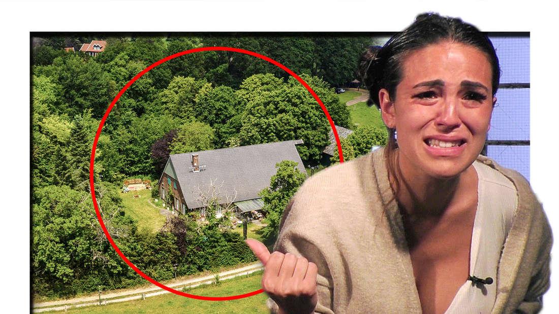 Elena Miras ist den Tränen nahe und zeigt auf einen Bauernhof, welcher von einem roten Kreis umrundet ist