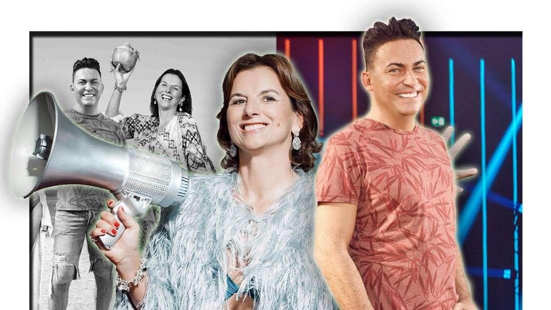 Claudia Obert und Matthias Mangiapane blicken lächelnd in die Kamera, Im Hintergrund ist ein Schwarz-Weiß-Bild der beiden sowie ein TV-Studio zu sehen (Fotomontage)
