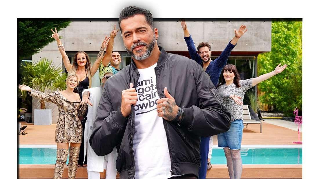 Aurelio Savina steht im Vordergrund, hinter ihm strecken mehrere Menschen ihre Arme in die Luft (Fotomontage)