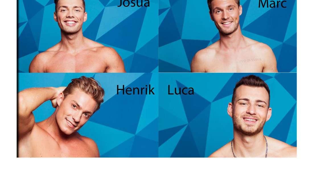 Die Love Island Männer Josua, Marc, Henrik und Luca sind ober körperfrei