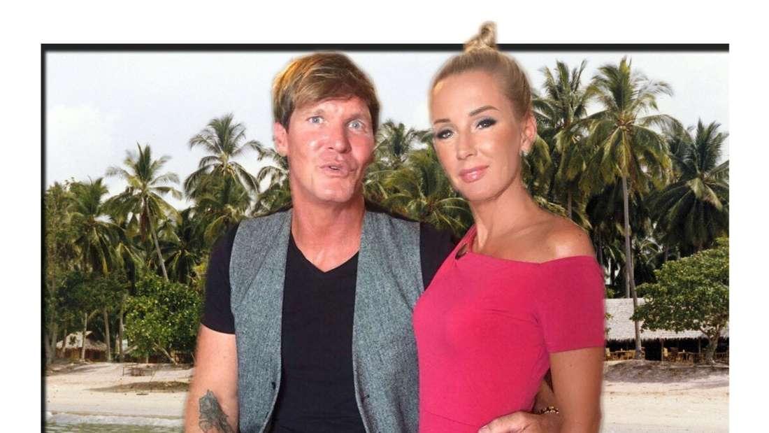 Kampf der Realitytstars: Steff Jerkel hält seine Freundin Peggy Jerofke im Arm, im Hintergrund ein Strand in Thailand (Fotomontage)