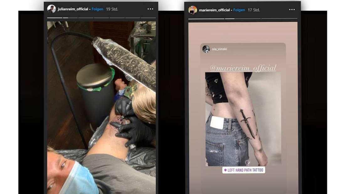 Zwei Instagram-Screenshots vor schwarzem Hintergrund