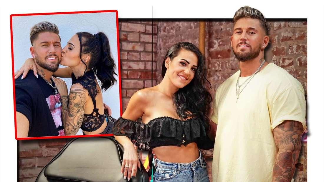 Fotomontage: Instagrambild, Elena küsst Mike auf die Wange, rechts im Tattoo-Studio