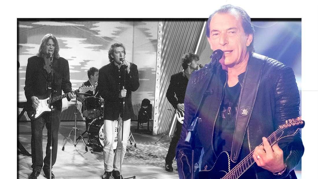 Die Band Münchener Freiheit auf einem Schwarz-Weiß-Foto - im Vordergrund Stefan Zauner auf der Bühne. (Fotomontage)