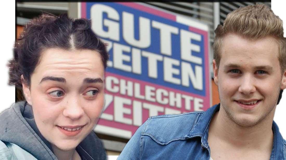 Merle (Ronja Herberich) verzieht das gesicht und schaut Jonas (Felix van Deventer) kritisch an. Im Hintergrund ist das GZSZ-Loge zu sehen.