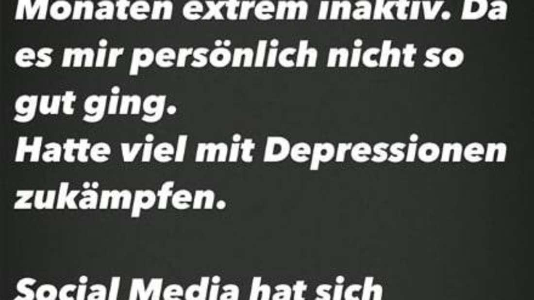 Screenshot aus Felix van Deventers Instagram-Story in dem er seinen Fans mitteilt, wie es ihm geht.