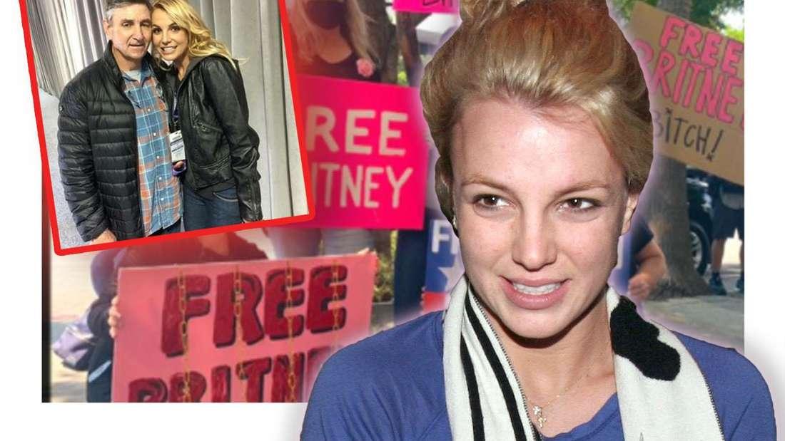 Britney Spears blickt zögerlich an der Kamera vorbei, daneben sieht man einen Instagram-Screenshot - dahinter mehrere Menschen, die Plakate in die Höhe halten (Fotomontage)
