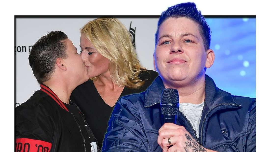 Schlagersängerin Kerstin Ott lächelt - daneben sieht man ein Foto, auf welchem sie ihre Frau Karolina küsst. (Fotomontage)