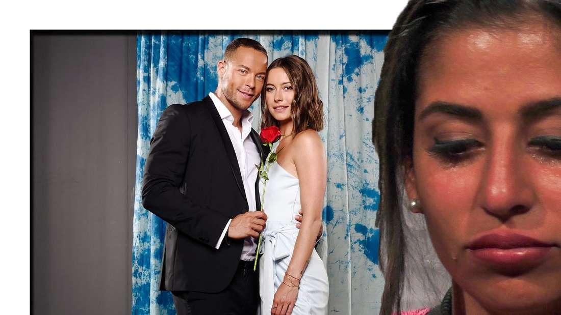 Eva Benetatou weint, im Hintergrund sind Andrej Mangold und Jennifer Lange zu sehen. (Fotomontage)