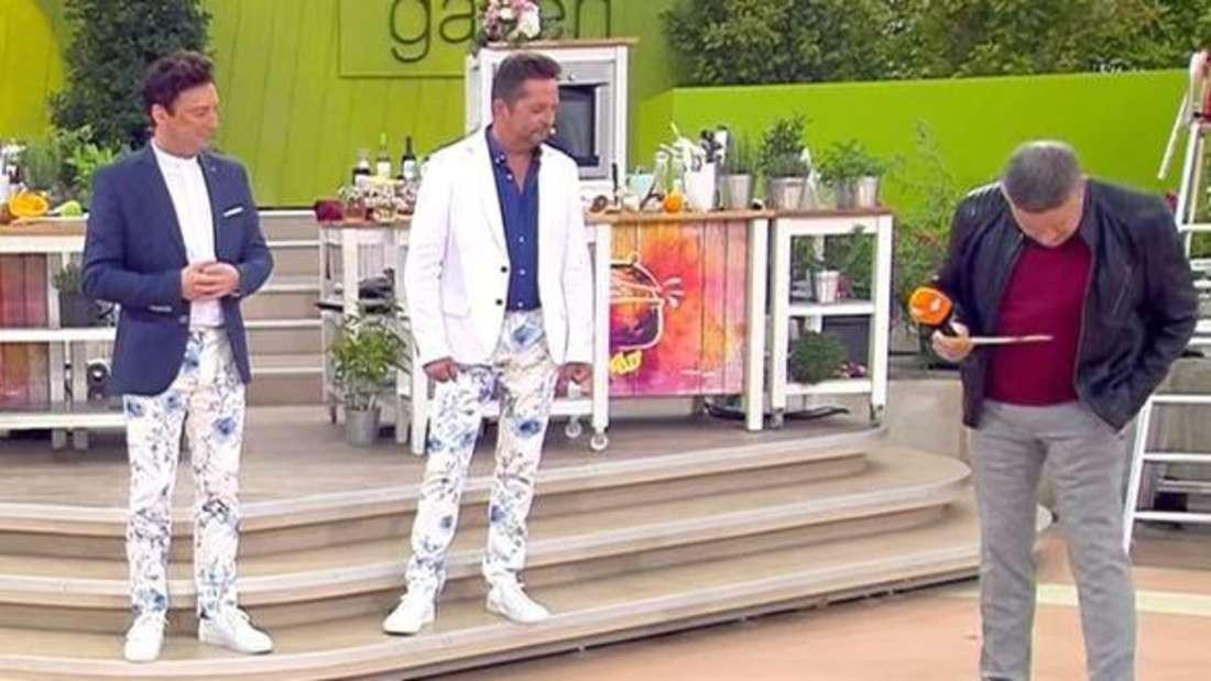 ZDF-Fernsehgarten: Freddy März (li.) und Martin Marcell starren auf die enge Hose von Joachim Llambi