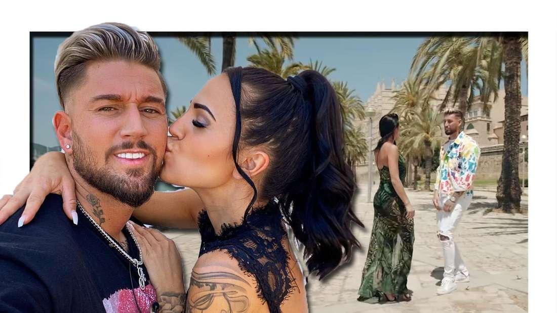 Fotomontage: Elena Miras küsst Mike auf die Wange, im Hintergrund eine Szene aus dem Musikvideo