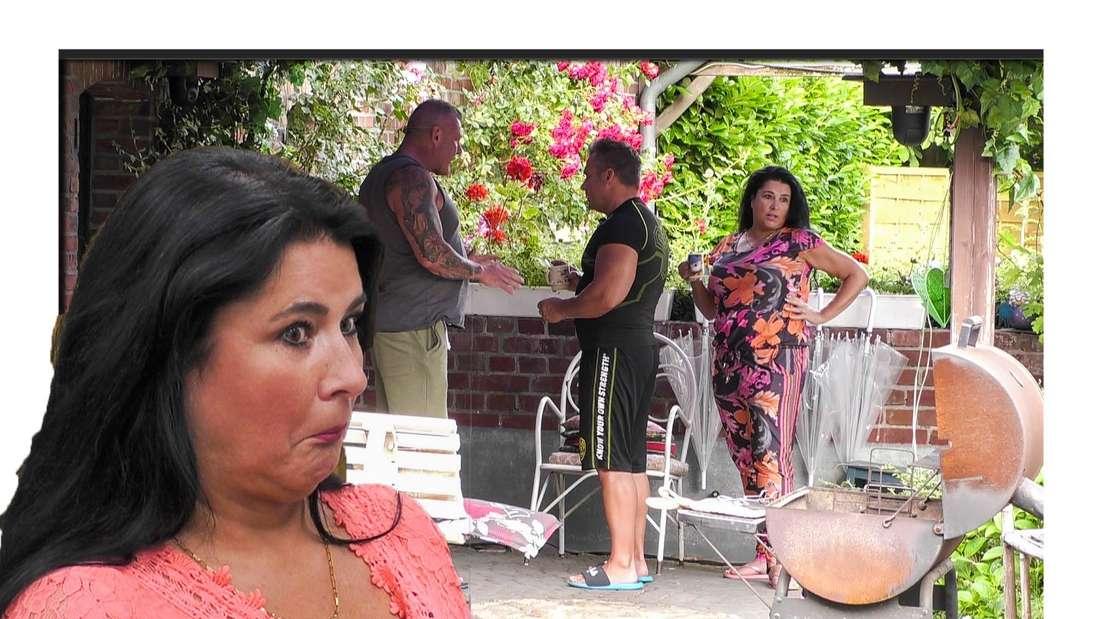 Iris Klein schaut verdutzt in die Kamera, im Hintergrund sieht man sie und ihren Mann mit Andreas Robens diskutieren. (Fotomontage)