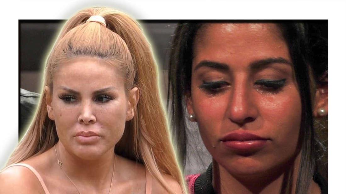 Lisha blickt im Vordergrund zur Seite, Eva weint im Hintergrund (Fotomontage)