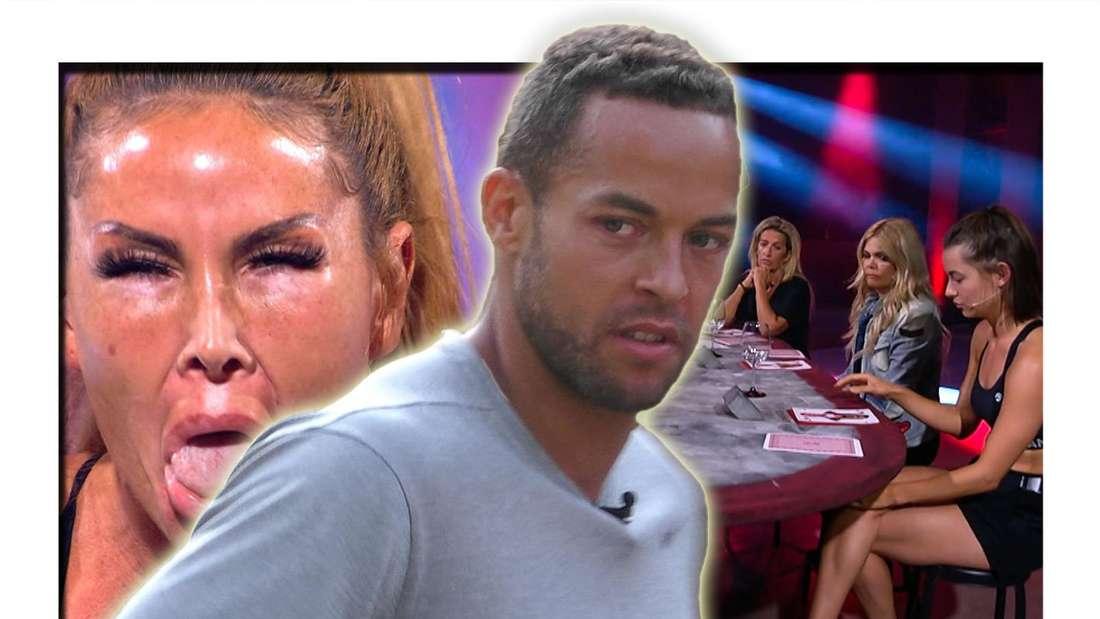 """Links streckt Lisha die Zunge raus, in der Mitte blickt Andrej Mangold an der Kamera vorbei zur Seite, rechts sieht man die """"Sommerhaus der Stars""""-Kandidaten bei dem Show-Spiel """"Reiner Wein"""" (Fotomontage)"""