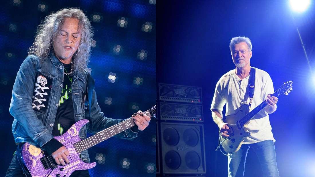 Die Gitarristen Kirk Hammett von Metallica und Eddie Van Halen von Van Halen (Fotomontage)
