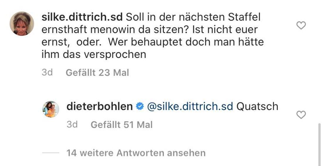 Screenshot Dieter Bohlens Instagram-Kommentare