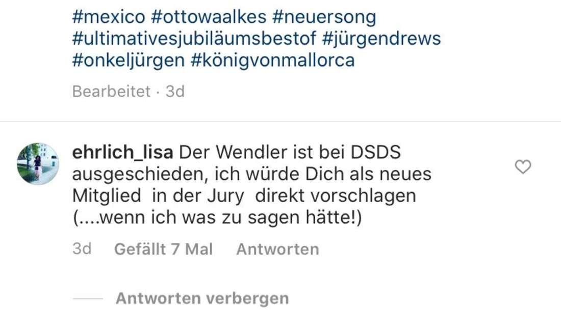 Screenshot von Jürgen Drews Instagram-Post mit Otto Waalkes: Fans schlagen vor, dass der Musiker für Michael Wendler als DSDS-Juror nachrückt