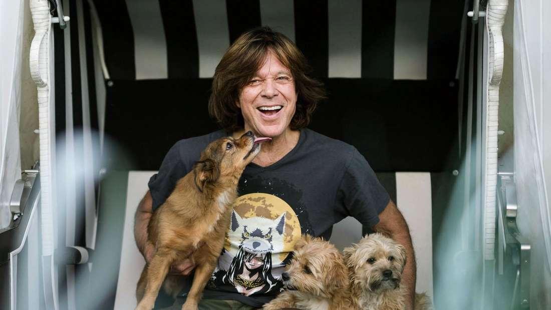 Jürgen Drews sitzt in einem Strandkorb mit drei Hunden und lacht